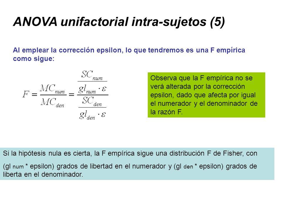 ANOVA unifactorial intra-sujetos (5) Al emplear la corrección epsilon, lo que tendremos es una F empírica como sigue: Observa que la F empírica no se