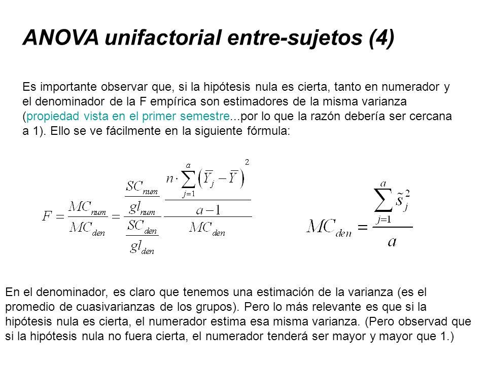 ANOVA unifactorial entre-sujetos (4) Es importante observar que, si la hipótesis nula es cierta, tanto en numerador y el denominador de la F empírica