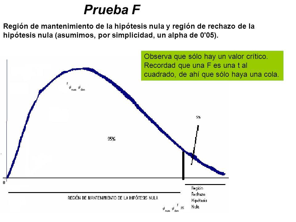 Prueba F Región de mantenimiento de la hipótesis nula y región de rechazo de la hipótesis nula (asumimos, por simplicidad, un alpha de 0'05). Observa