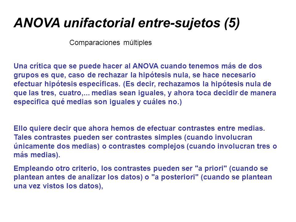 ANOVA unifactorial entre-sujetos (5) Una crítica que se puede hacer al ANOVA cuando tenemos más de dos grupos es que, caso de rechazar la hipótesis nu