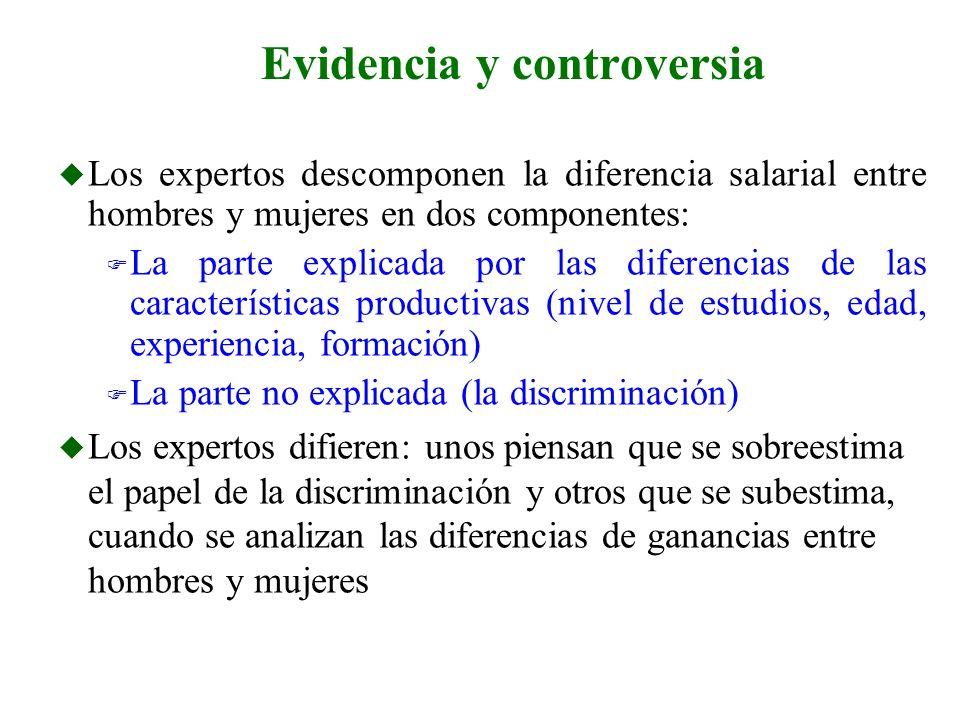 u Los expertos descomponen la diferencia salarial entre hombres y mujeres en dos componentes: F La parte explicada por las diferencias de las caracter