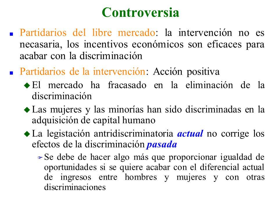 n Partidarios del libre mercado: la intervención no es necasaria, los incentivos económicos son eficaces para acabar con la discriminación n Partidari