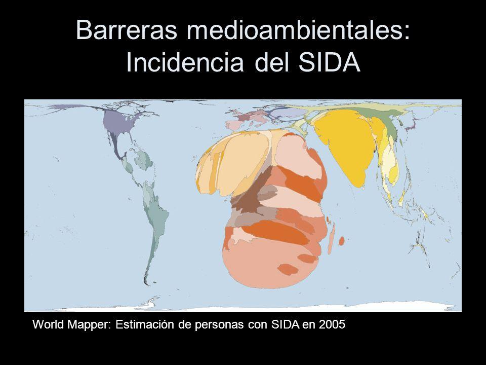 Barreras medioambientales: Incidencia del SIDA World Mapper: Estimación de personas con SIDA en 2005