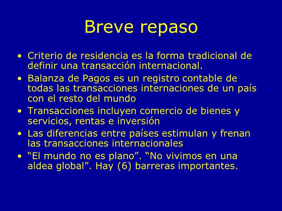 Breve repaso Criterio de residencia es la forma tradicional de definir una transacción internacional.