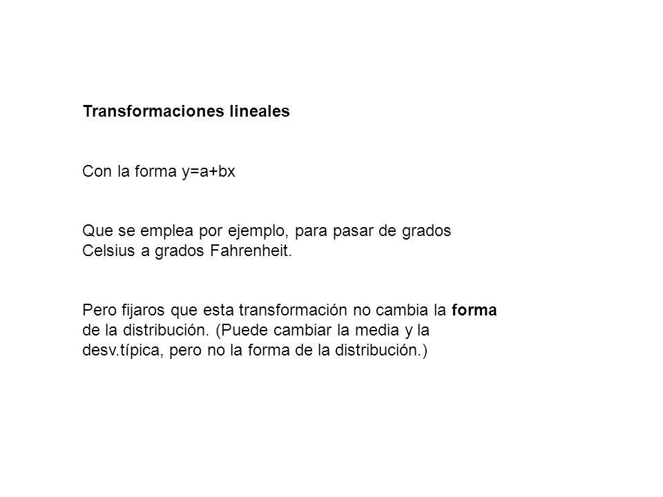 Transformaciones lineales Con la forma y=a+bx Que se emplea por ejemplo, para pasar de grados Celsius a grados Fahrenheit. Pero fijaros que esta trans