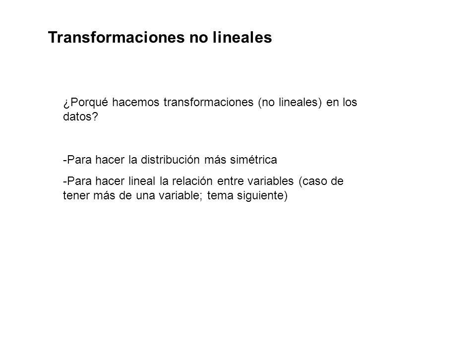 ¿Porqué hacemos transformaciones (no lineales) en los datos? -Para hacer la distribución más simétrica -Para hacer lineal la relación entre variables
