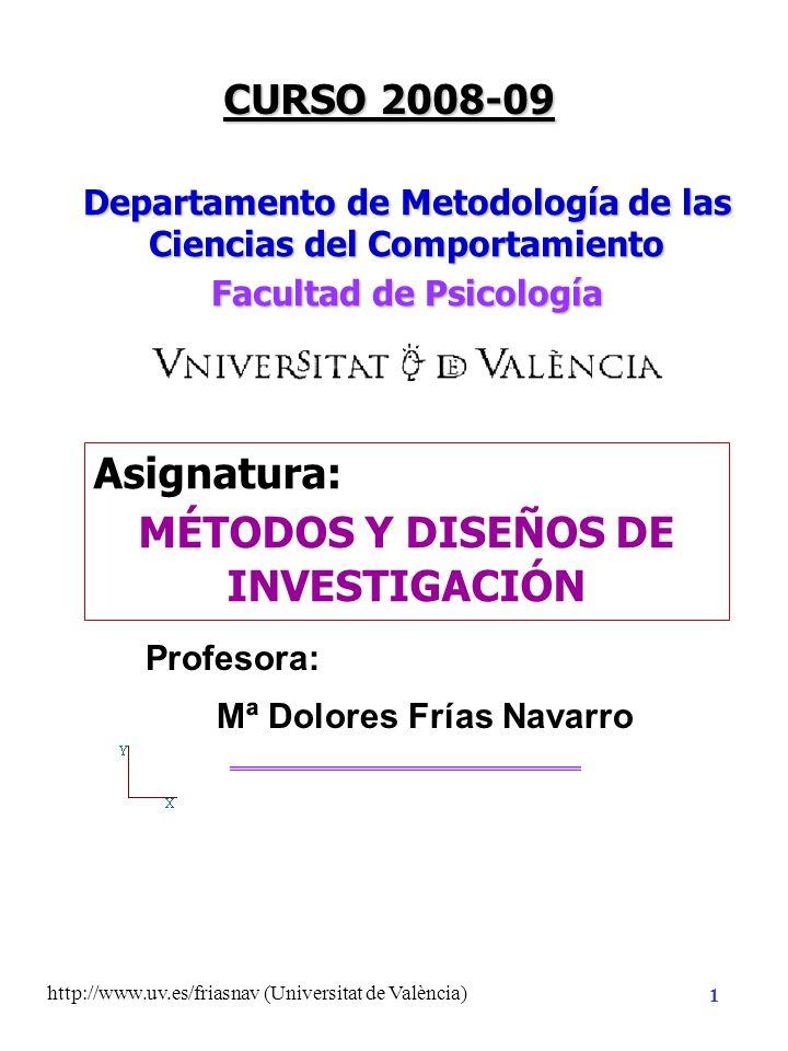 http://www.uv.es/friasnav (Universitat de València) 31 Constrastación con la realidad Reformulada Implicación de la teoría Hipótesis Sustantiva Hipótesis Estadística: afirmación sobre parámetros de la población Hipótesis de Nulidad H 0 Hipótesis Alternativa H 1