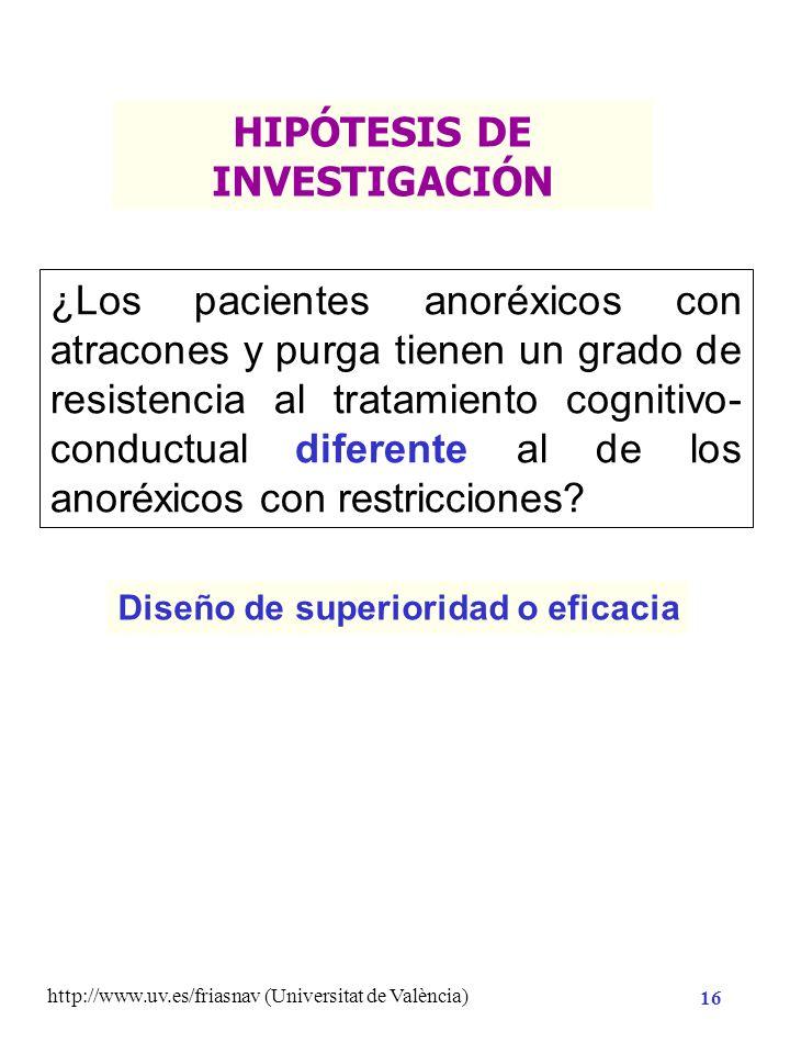 http://www.uv.es/friasnav (Universitat de València) 15 Contrastación estadística con datos empíricos Enunciados contrastables empíricamente Hipótesis