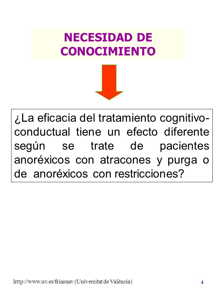 http://www.uv.es/friasnav (Universitat de València) 4 ¿La eficacia del tratamiento cognitivo- conductual tiene un efecto diferente según se trate de pacientes anoréxicos con atracones y purga o de anoréxicos con restricciones.