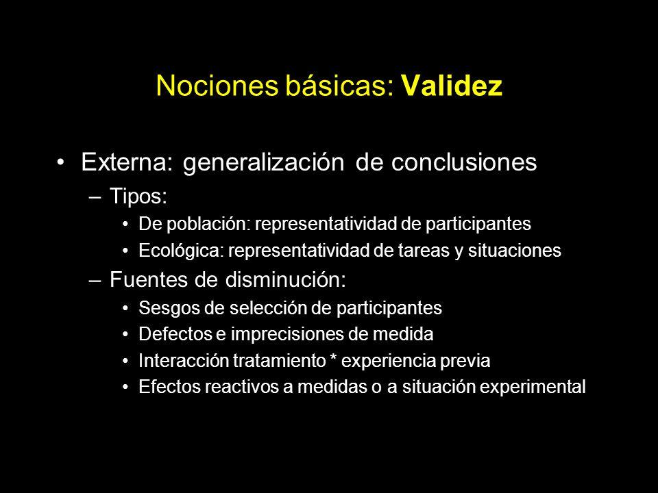 Nociones básicas: Validez Externa: generalización de conclusiones –Tipos: De población: representatividad de participantes Ecológica: representativida