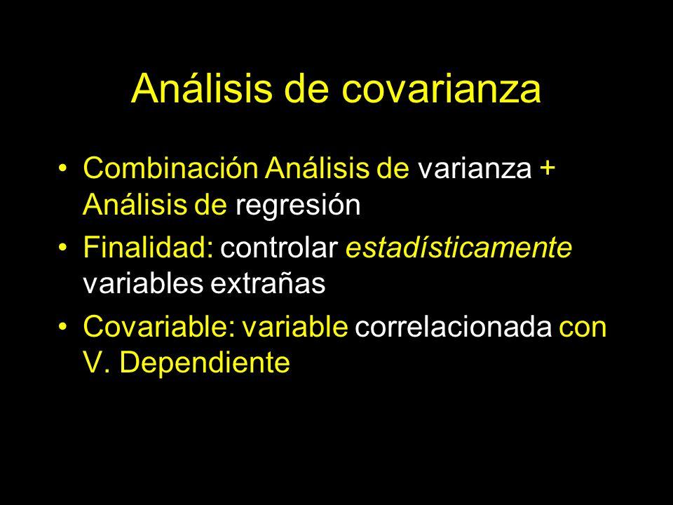 Análisis de covarianza Combinación Análisis de varianza + Análisis de regresión Finalidad: controlar estadísticamente variables extrañas Covariable: v