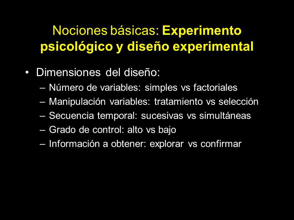 Nociones básicas: Experimento psicológico y diseño experimental Dimensiones del diseño: –Número de variables: simples vs factoriales –Manipulación var