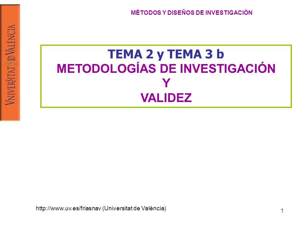 http://www.uv.es/friasnav (Universitat de València) 1 TEMA 2 y TEMA 3 b METODOLOGÍAS DE INVESTIGACIÓN Y VALIDEZ MÉTODOS Y DISEÑOS DE INVESTIGACIÓN