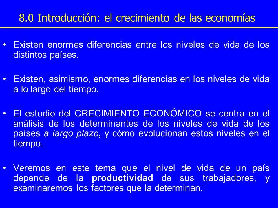 8.2 La función de producción Y/L = A F(1, K/L, H/L, N/L) En la ecuación anterior, Y/L es la producción por trabajador (un indicador de PRODUCTIVIDAD), que va a depender: de la cantidad de capital físico por trabajador de la cantidad de capital humano por trabajador de la cantidad de recursos naturales por trabajador de la situación de la tecnología, reflejada en A