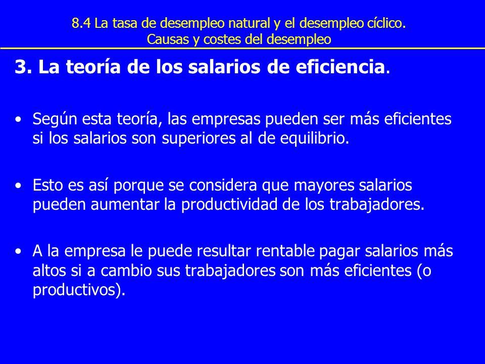 8.4 La tasa de desempleo natural y el desempleo cíclico. Causas y costes del desempleo 3. La teoría de los salarios de eficiencia. Según esta teoría,