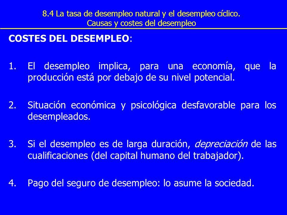 8.4 La tasa de desempleo natural y el desempleo cíclico. Causas y costes del desempleo COSTES DEL DESEMPLEO: 1.El desempleo implica, para una economía