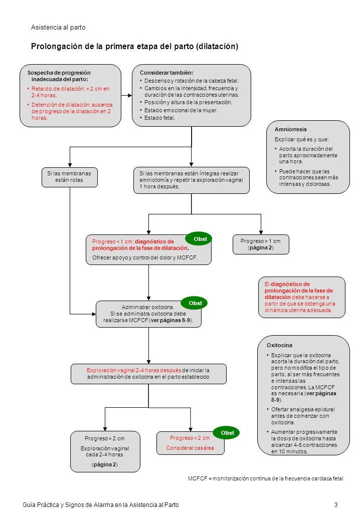 Guía Práctica y Signos de Alarma en la Asistencia al Parto 4 Episiotomía Realizar episiotomía sólo si hay necesidad clínica.