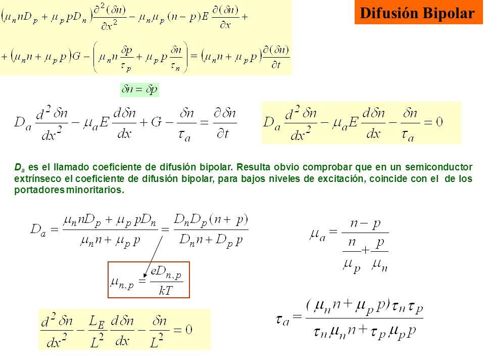 D a es el llamado coeficiente de difusión bipolar. Resulta obvio comprobar que en un semiconductor extrínseco el coeficiente de difusión bipolar, para