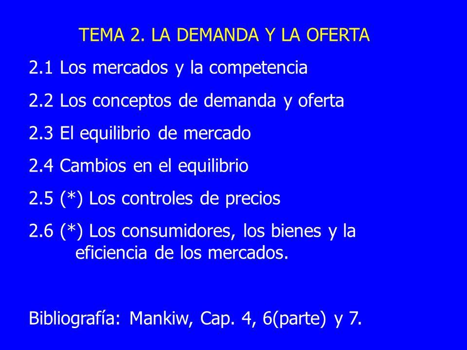 TEMA 2. LA DEMANDA Y LA OFERTA 2.1 Los mercados y la competencia 2.2 Los conceptos de demanda y oferta 2.3 El equilibrio de mercado 2.4 Cambios en el