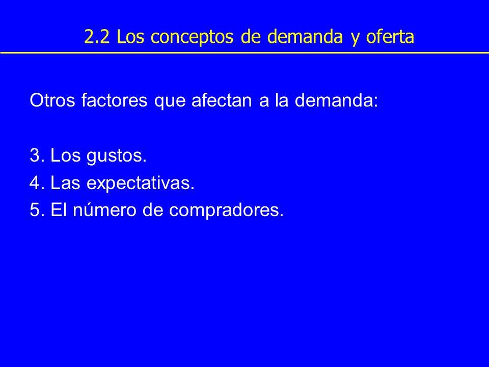 Otros factores que afectan a la demanda: 3. Los gustos. 4. Las expectativas. 5. El número de compradores. 2.2 Los conceptos de demanda y oferta