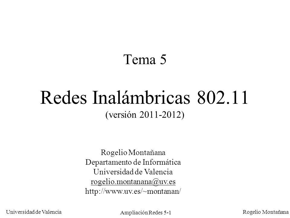 Universidad de Valencia Rogelio Montañana Ampliación Redes 5-1 Tema 5 Redes Inalámbricas 802.11 (versión 2011-2012) Rogelio Montañana Departamento de