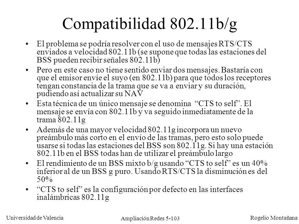 Universidad de Valencia Rogelio Montañana Ampliación Redes 5-103 Compatibilidad 802.11b/g El problema se podría resolver con el uso de mensajes RTS/CT