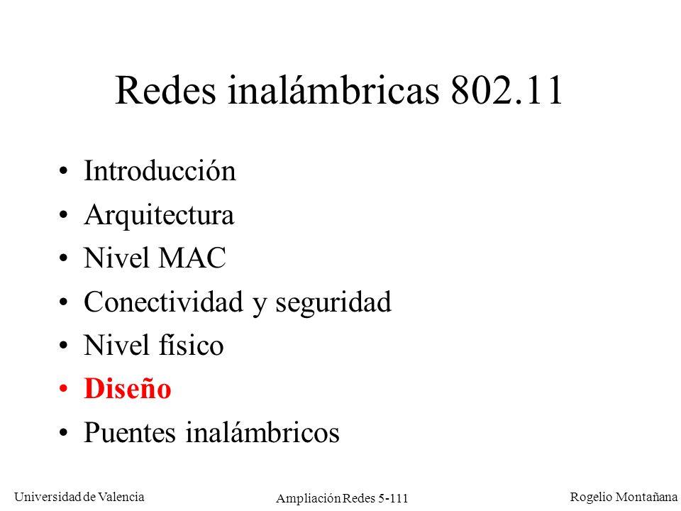 Universidad de Valencia Rogelio Montañana Ampliación Redes 5-111 Redes inalámbricas 802.11 Introducción Arquitectura Nivel MAC Conectividad y segurida