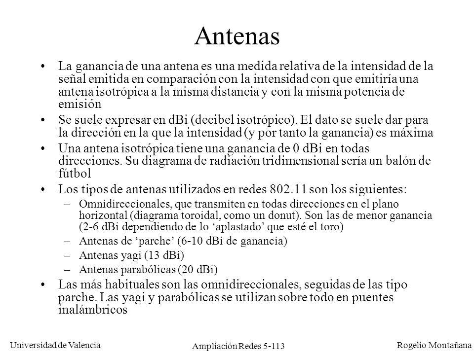 Universidad de Valencia Rogelio Montañana Ampliación Redes 5-113 Antenas La ganancia de una antena es una medida relativa de la intensidad de la señal