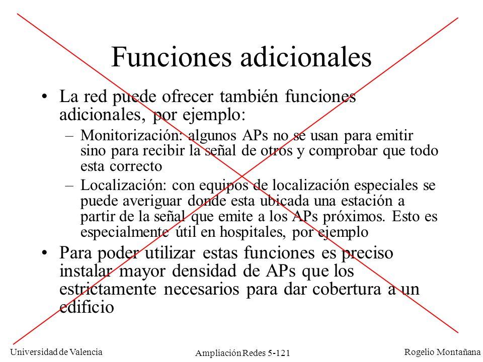 Universidad de Valencia Rogelio Montañana Ampliación Redes 5-121 Funciones adicionales La red puede ofrecer también funciones adicionales, por ejemplo