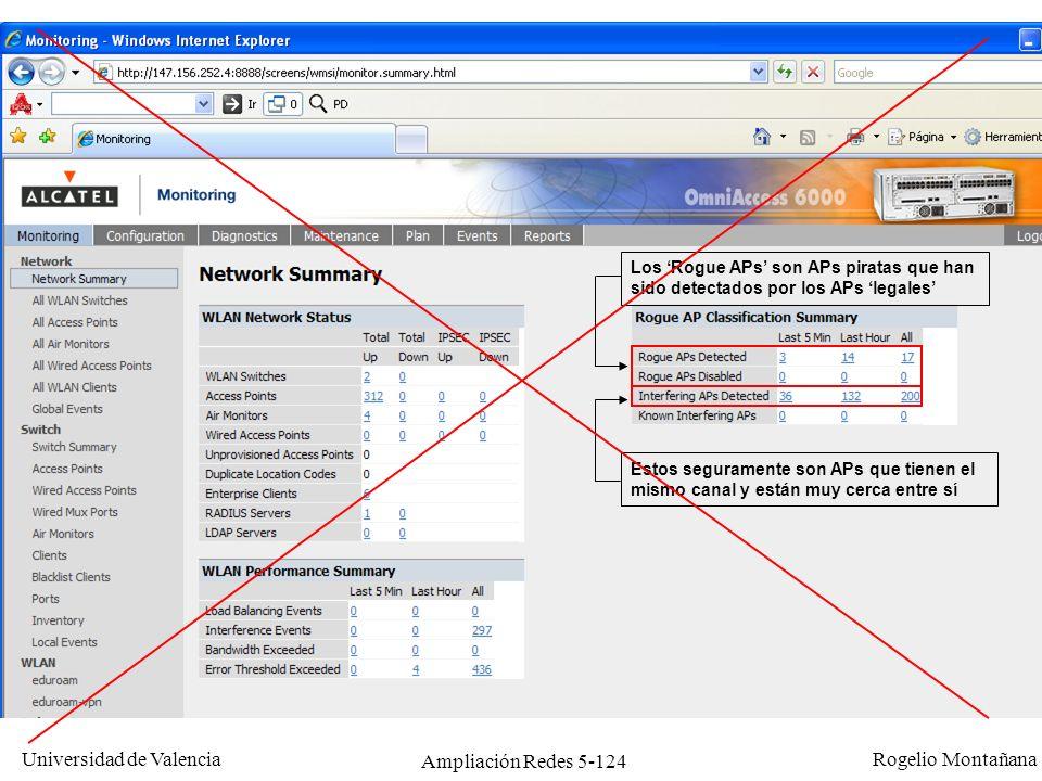 Universidad de Valencia Rogelio Montañana Ampliación Redes 5-124 Los Rogue APs son APs piratas que han sido detectados por los APs legales Estos segur