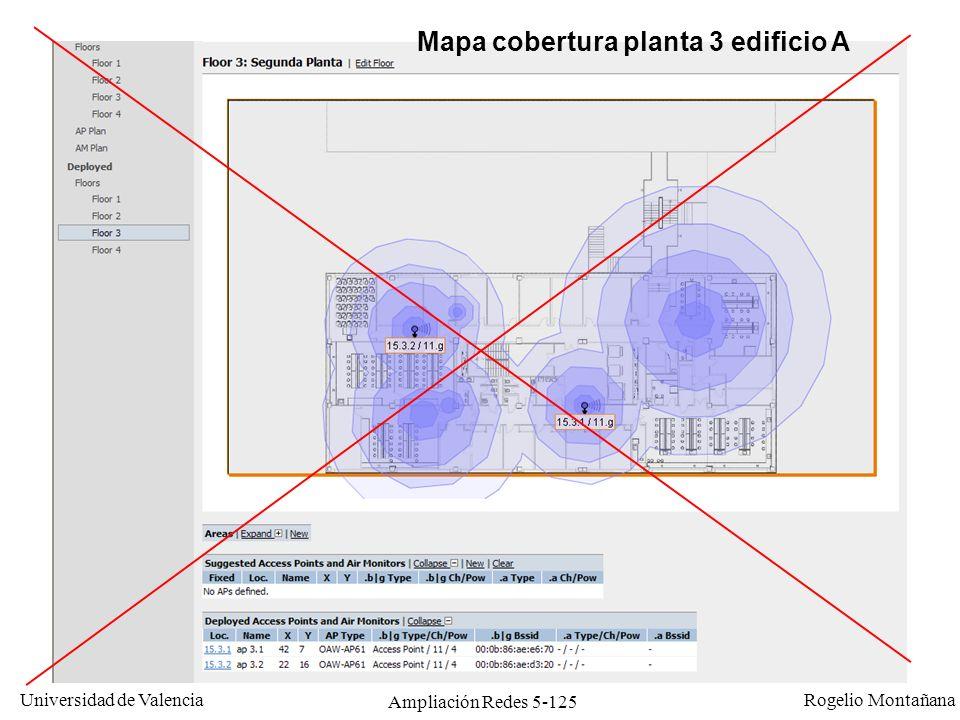 Universidad de Valencia Rogelio Montañana Ampliación Redes 5-125 Mapa cobertura planta 3 edificio A