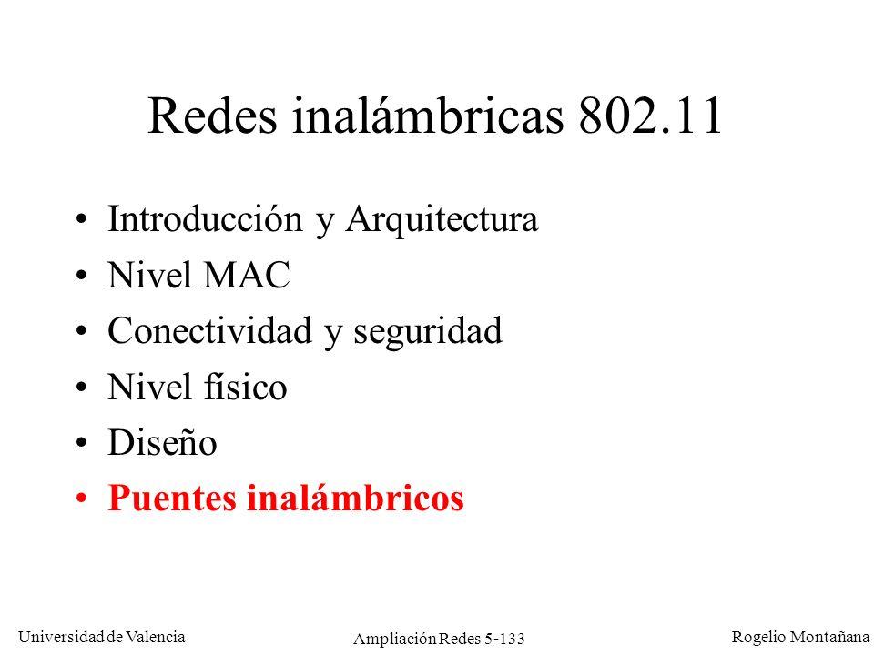 Universidad de Valencia Rogelio Montañana Ampliación Redes 5-133 Redes inalámbricas 802.11 Introducción y Arquitectura Nivel MAC Conectividad y seguri