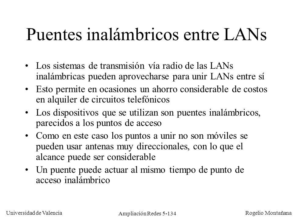 Universidad de Valencia Rogelio Montañana Ampliación Redes 5-134 Puentes inalámbricos entre LANs Los sistemas de transmisión vía radio de las LANs ina