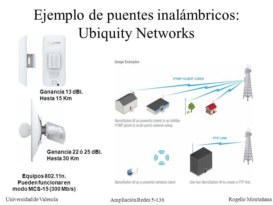 Universidad de Valencia Rogelio Montañana Ampliación Redes 5-136 Ejemplo de puentes inalámbricos: Ubiquity Networks Equipos 802.11n. Pueden funcionar