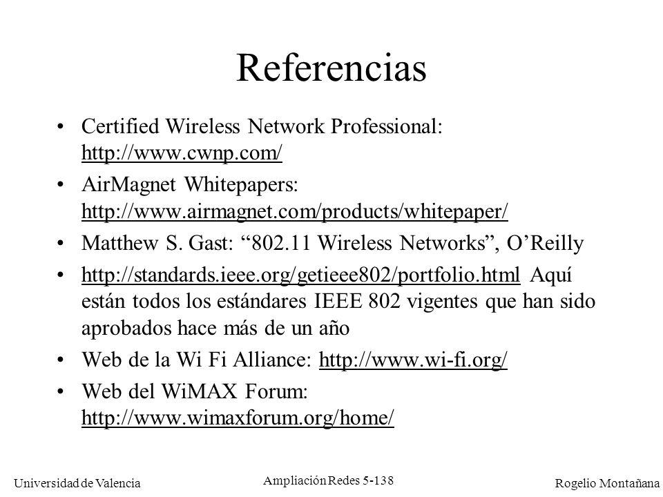 Universidad de Valencia Rogelio Montañana Ampliación Redes 5-138 Referencias Certified Wireless Network Professional: http://www.cwnp.com/ http://www.