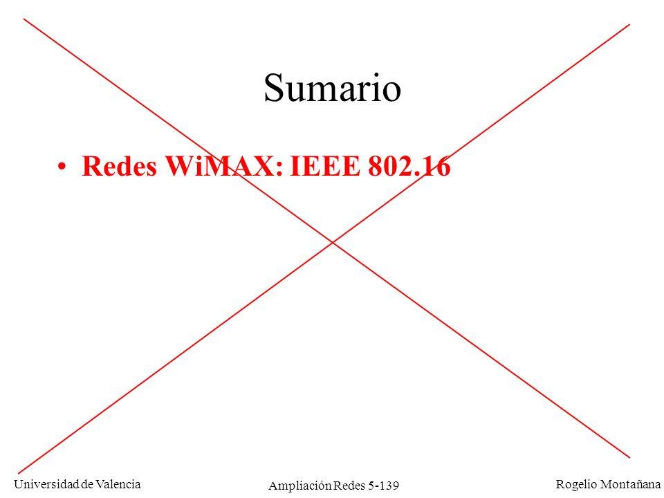 Universidad de Valencia Rogelio Montañana Ampliación Redes 5-139 Sumario Redes WiMAX: IEEE 802.16