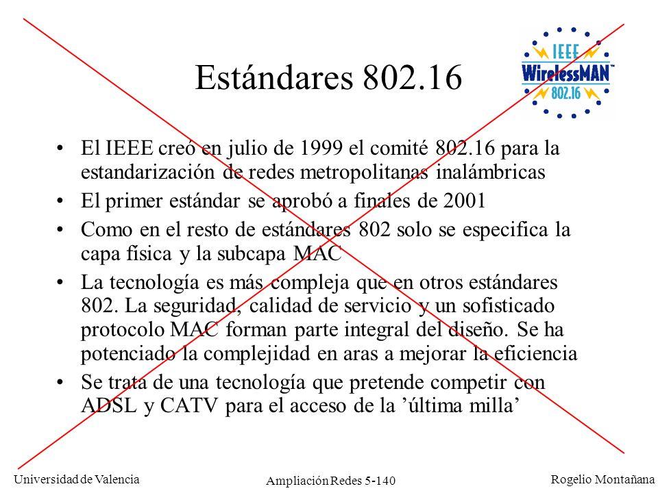 Universidad de Valencia Rogelio Montañana Ampliación Redes 5-140 Estándares 802.16 El IEEE creó en julio de 1999 el comité 802.16 para la estandarizac
