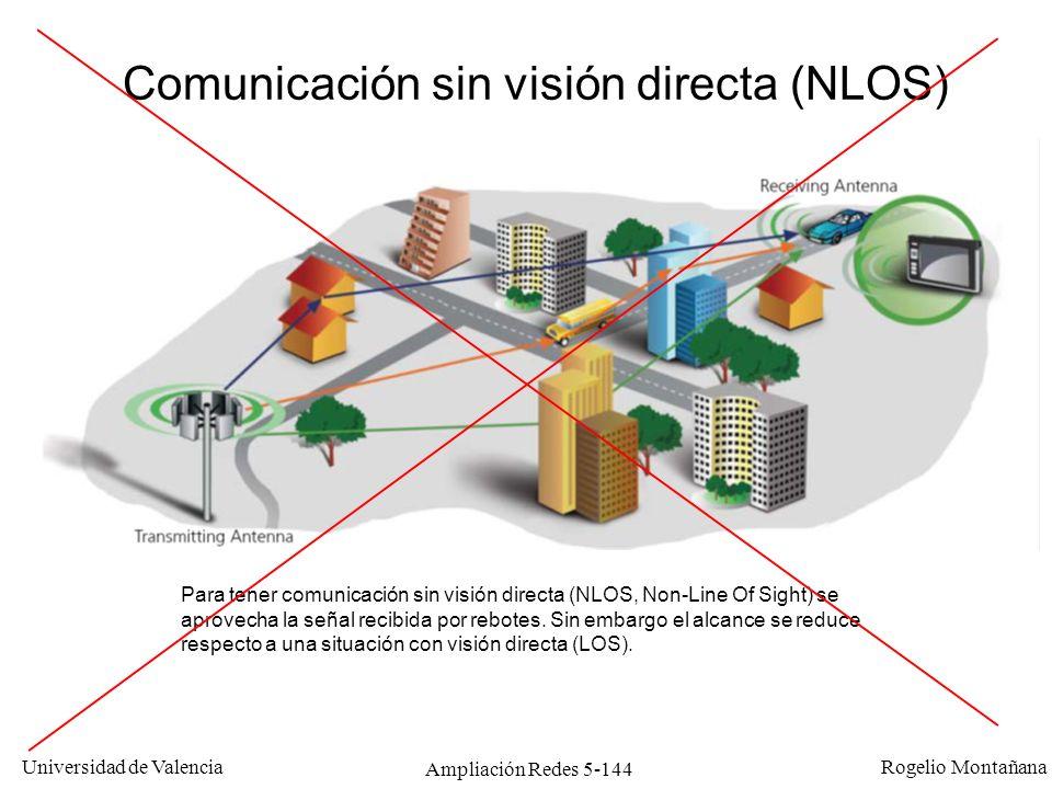 Universidad de Valencia Rogelio Montañana Ampliación Redes 5-144 Para tener comunicación sin visión directa (NLOS, Non-Line Of Sight) se aprovecha la