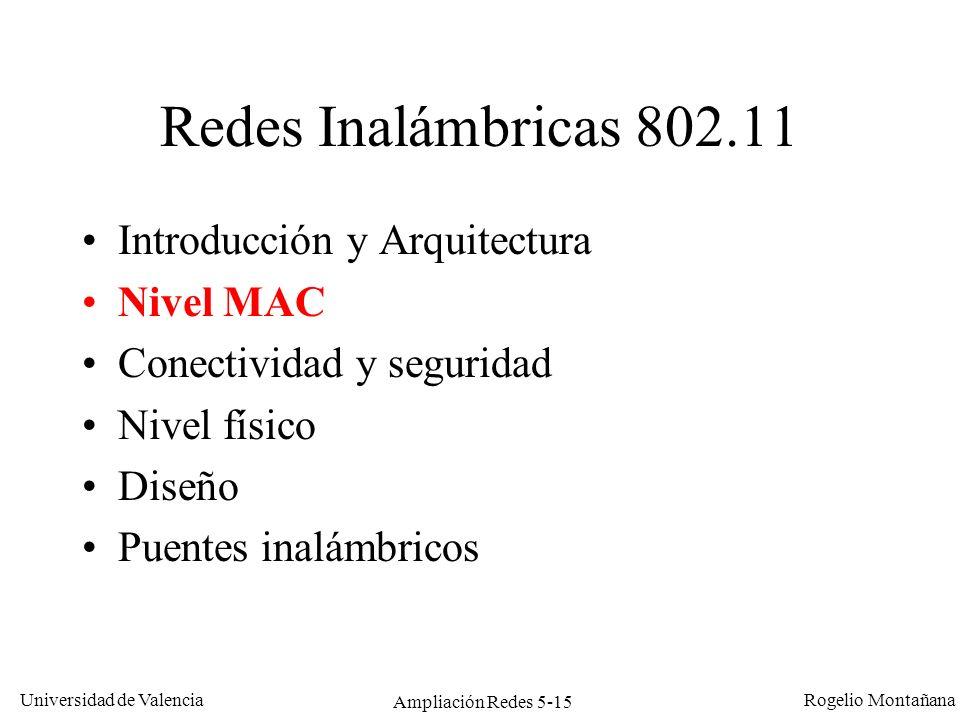 Universidad de Valencia Rogelio Montañana Ampliación Redes 5-15 Redes Inalámbricas 802.11 Introducción y Arquitectura Nivel MAC Conectividad y segurid