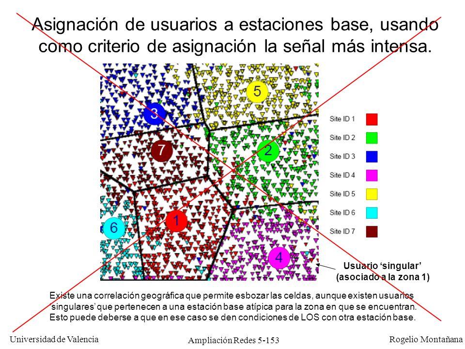 Universidad de Valencia Rogelio Montañana Ampliación Redes 5-153 Existe una correlación geográfica que permite esbozar las celdas, aunque existen usua
