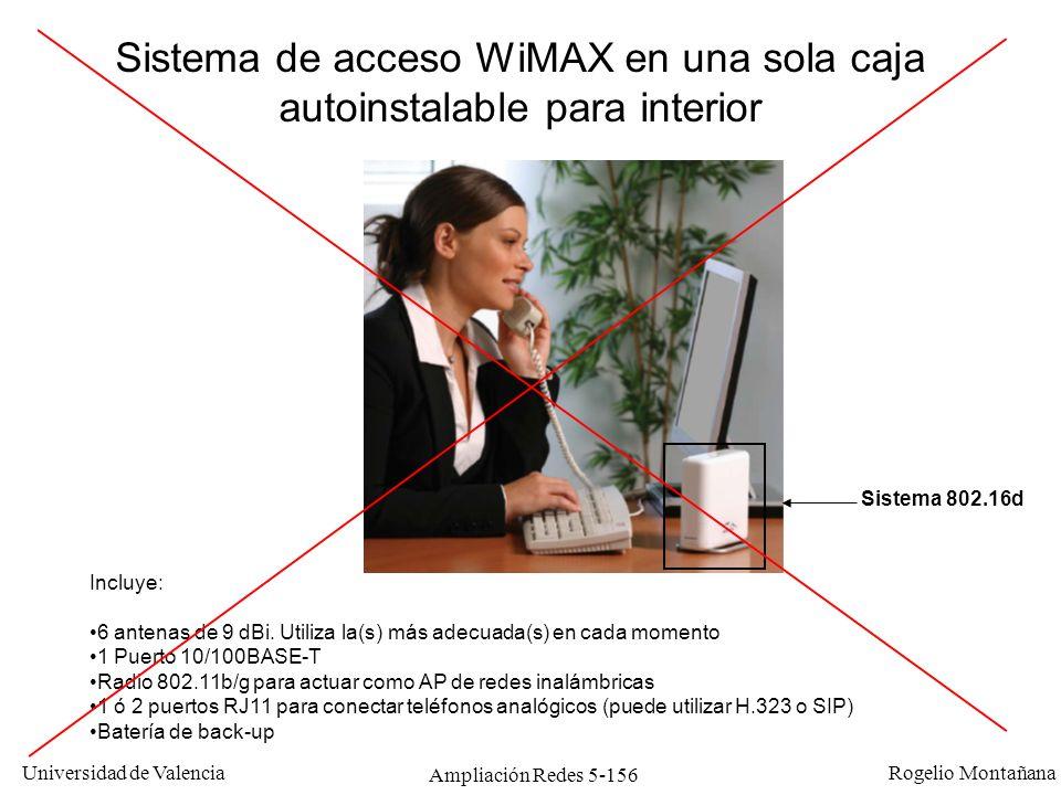 Universidad de Valencia Rogelio Montañana Ampliación Redes 5-156 Incluye: 6 antenas de 9 dBi. Utiliza la(s) más adecuada(s) en cada momento 1 Puerto 1