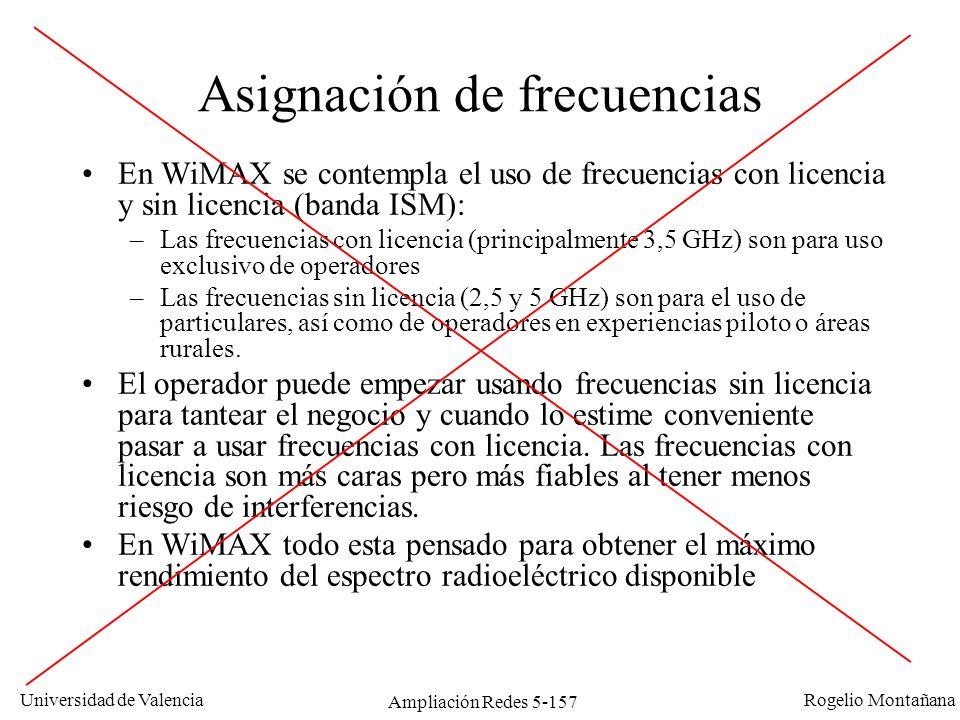 Universidad de Valencia Rogelio Montañana Ampliación Redes 5-157 Asignación de frecuencias En WiMAX se contempla el uso de frecuencias con licencia y