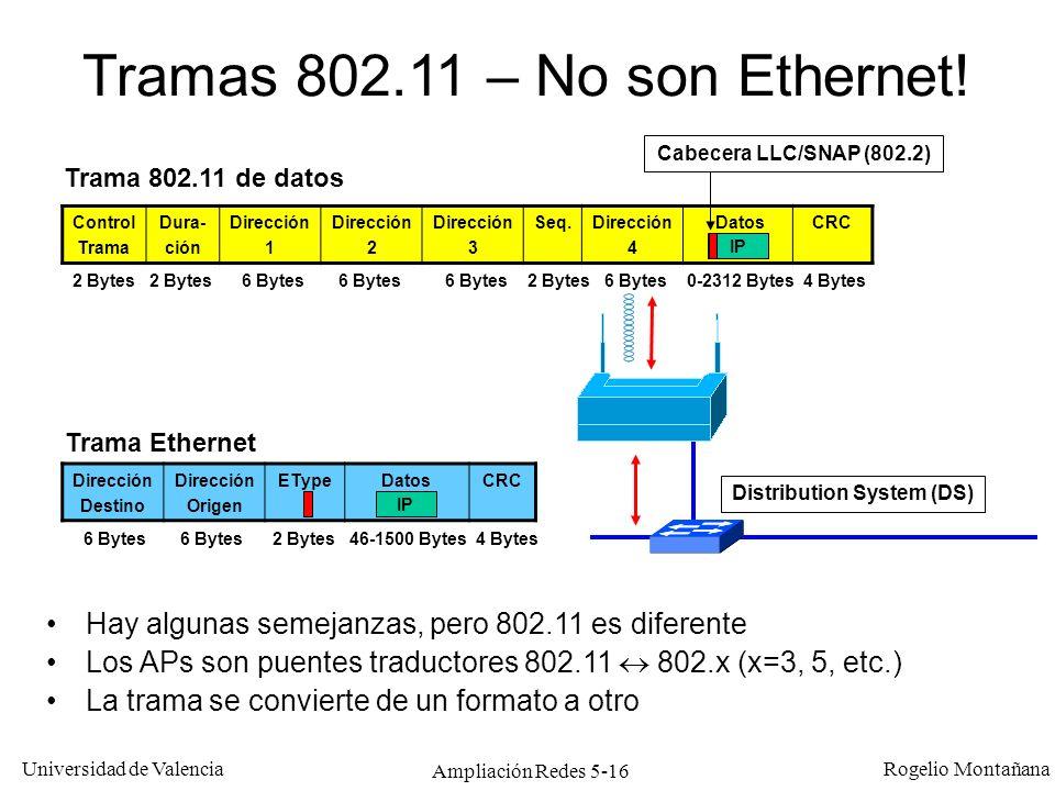 Universidad de Valencia Rogelio Montañana Ampliación Redes 5-16 Tramas 802.11 – No son Ethernet! Hay algunas semejanzas, pero 802.11 es diferente Los