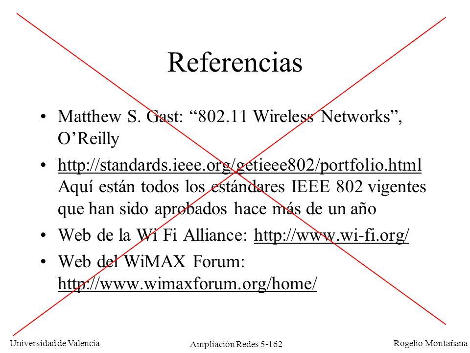 Universidad de Valencia Rogelio Montañana Ampliación Redes 5-162 Referencias Matthew S. Gast: 802.11 Wireless Networks, OReilly http://standards.ieee.