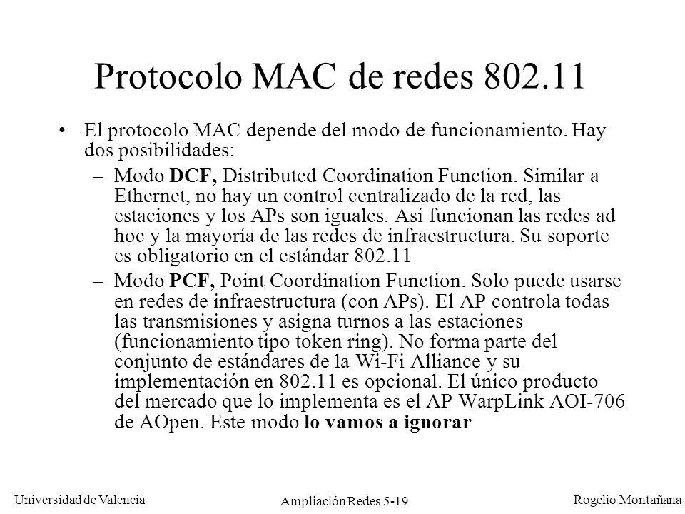 Universidad de Valencia Rogelio Montañana Ampliación Redes 5-19 Protocolo MAC de redes 802.11 El protocolo MAC depende del modo de funcionamiento. Hay