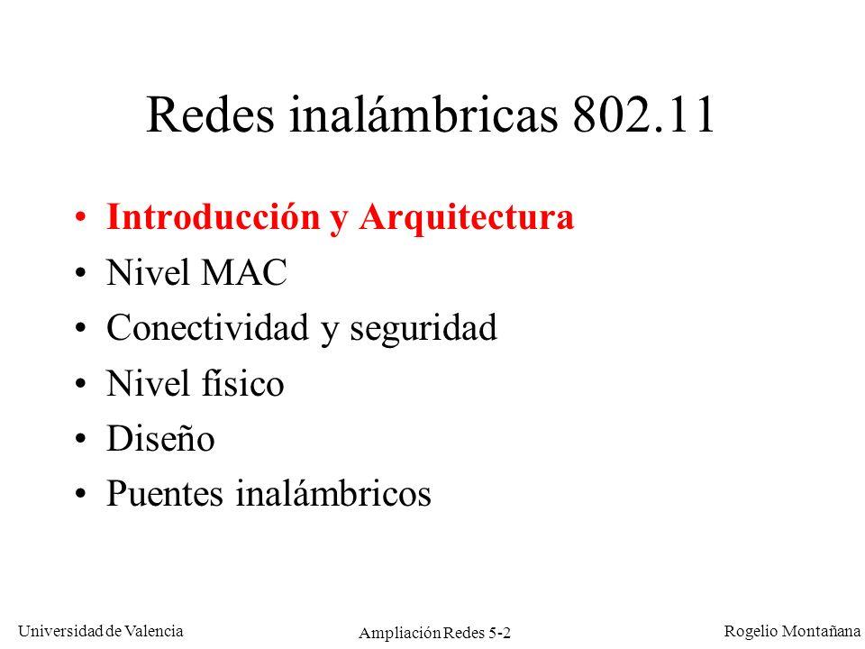 Universidad de Valencia Rogelio Montañana Ampliación Redes 5-2 Redes inalámbricas 802.11 Introducción y Arquitectura Nivel MAC Conectividad y segurida