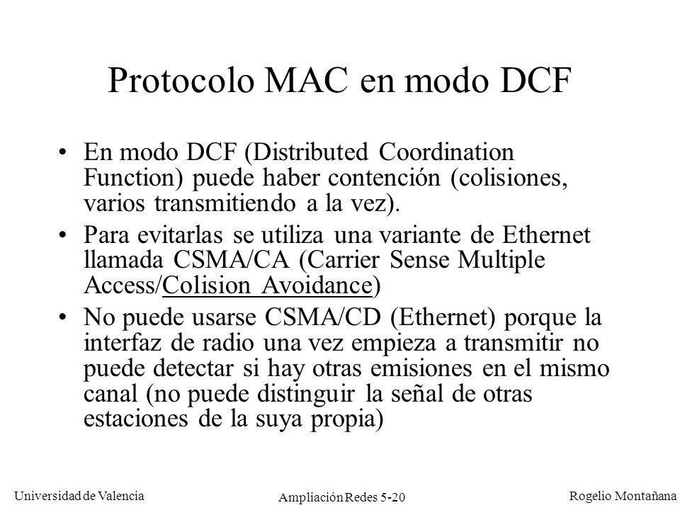 Universidad de Valencia Rogelio Montañana Ampliación Redes 5-20 Protocolo MAC en modo DCF En modo DCF (Distributed Coordination Function) puede haber