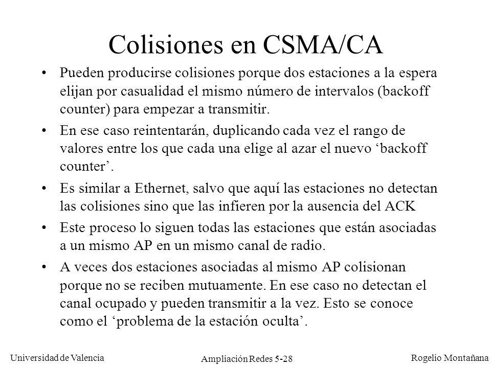 Universidad de Valencia Rogelio Montañana Ampliación Redes 5-28 Colisiones en CSMA/CA Pueden producirse colisiones porque dos estaciones a la espera e