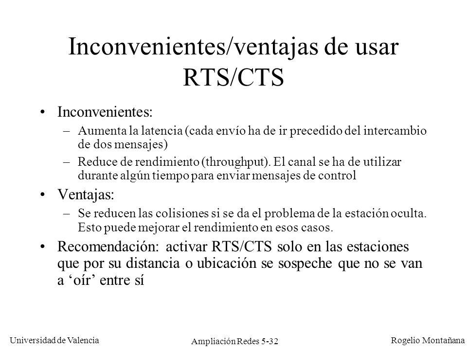Universidad de Valencia Rogelio Montañana Ampliación Redes 5-32 Inconvenientes/ventajas de usar RTS/CTS Inconvenientes: –Aumenta la latencia (cada env