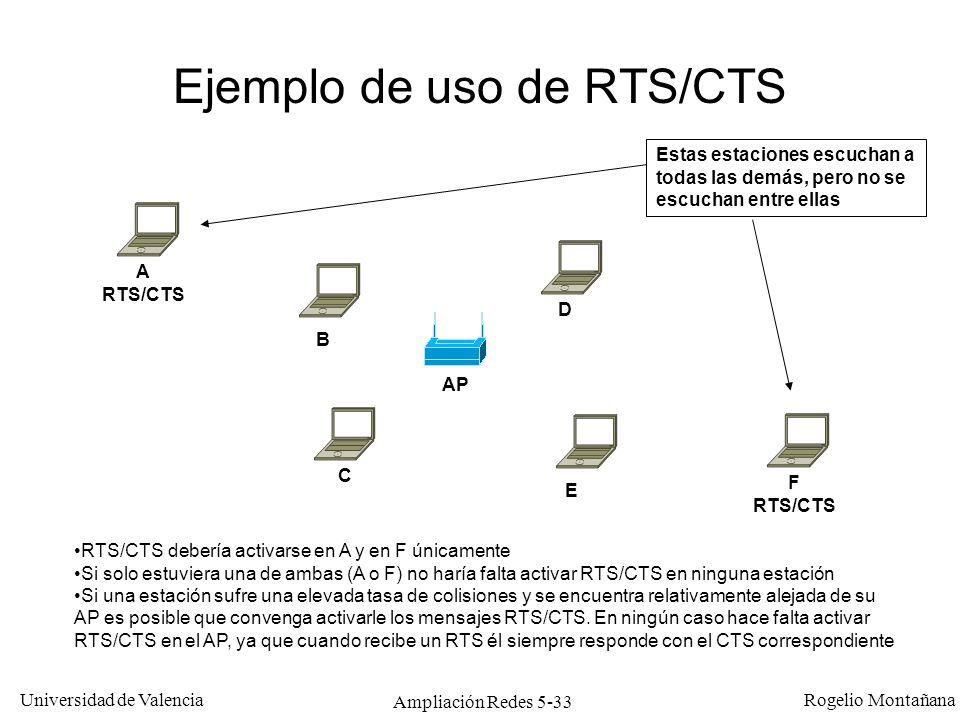 Universidad de Valencia Rogelio Montañana Ampliación Redes 5-33 Ejemplo de uso de RTS/CTS AP A RTS/CTS E D C B F RTS/CTS RTS/CTS debería activarse en
